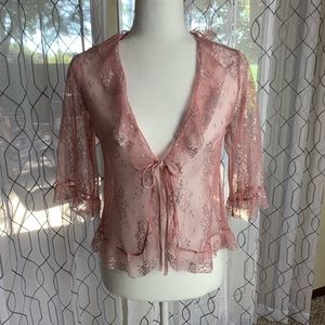 Victoria's Secret Angels Pink Mesh Cardigan Small